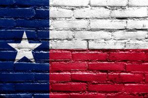 Texas Flag on Brick Wall